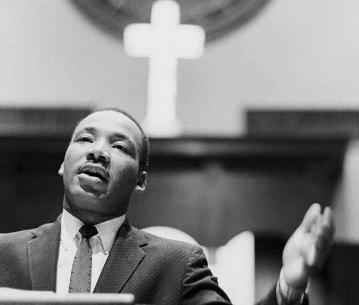 ATLANTA, GA - 1960: Dr. Martin Luther King Jr. preaching from his pulpit circa 1960 at the Ebenezer Baptist Church in Atlanta, Georgia. (Photo by Dozier Mobley/Getty Images)