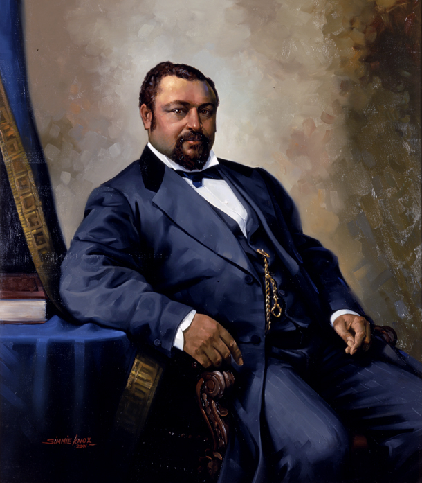 A portrait of Blanche Kelso Bruce, in a lovely blue suit, in the same pose as in the Mathew Brady photos described above