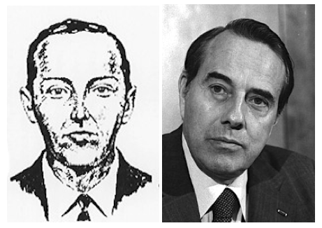 A photo of Bob Dole in a black suit, next to an artist's rendering of DB Cooper in a black suit