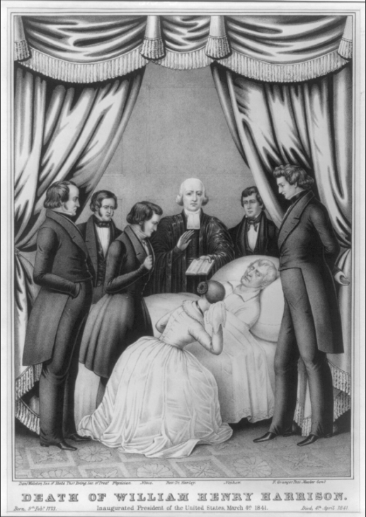 William Henry Harrison lies on his bed, surrounded by grim doctors and a weeping wife (or woman, anyway)