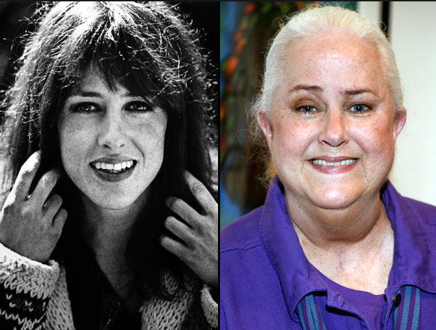 Side-by-side photos of Grace Slick, looking young and dark and then plump and gray