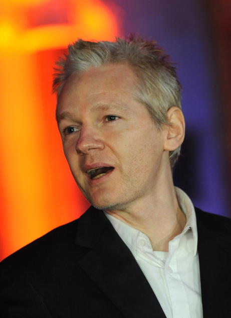 Assange in Decemeber of 2010, photo by Daniel Deme/WENN