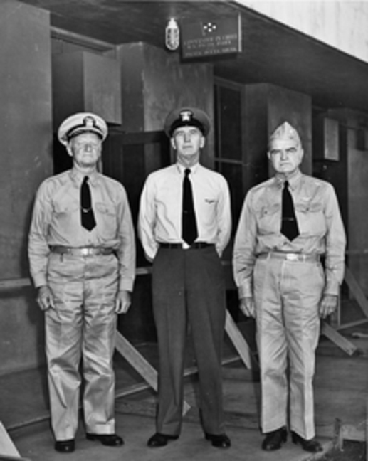 From left: Nimitz, King, Halsey (National Archives)