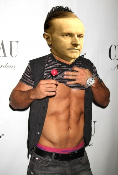 A photo of Mike Sorrentino showing his abs, with the head of Calvin Coolidge superimposed over his