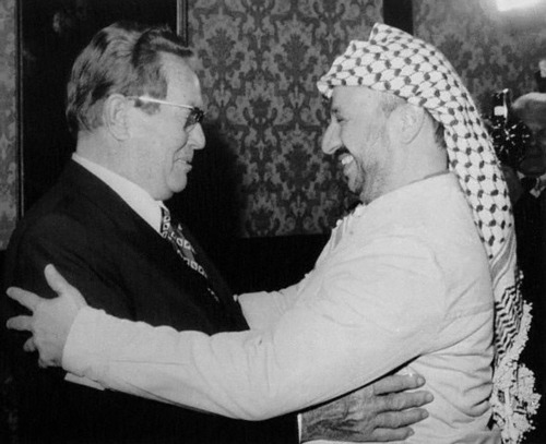 Tito with Yasser Arafat, getting ready to wrassle