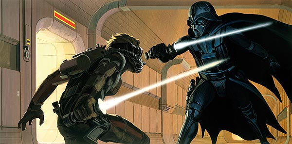 Drawing of Darth Vader fighting Luke Skywalker with light sabers